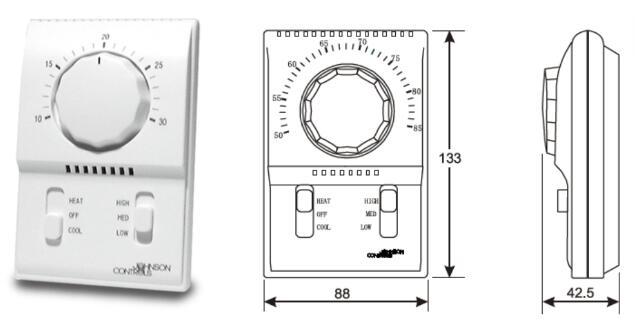 风机盘管用的温控器尺寸一般多大?长宽和厚度是多少?
